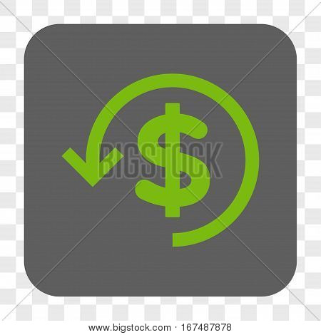 Refund interface toolbar button. Vector icon style is a flat symbol in a rounded square button light green and gray colors chess transparent background.