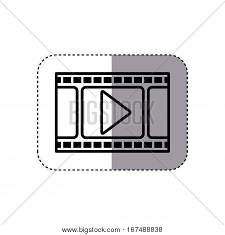 sticker silhouette filmstrip with play buttom vector illustration