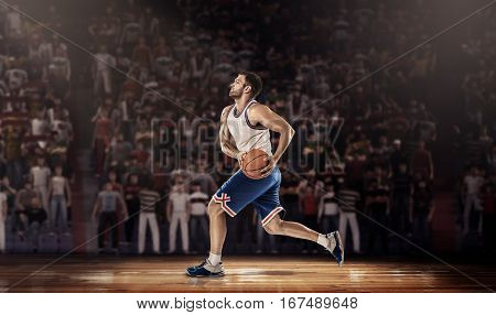 basketball player with ball on professional basketball court arena with tribune and light, , render