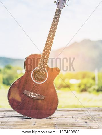 Guitar, Nature And Mountain Background