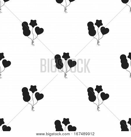 Baloons icon in black style isolated on white background. Circus pattern vector illustration.