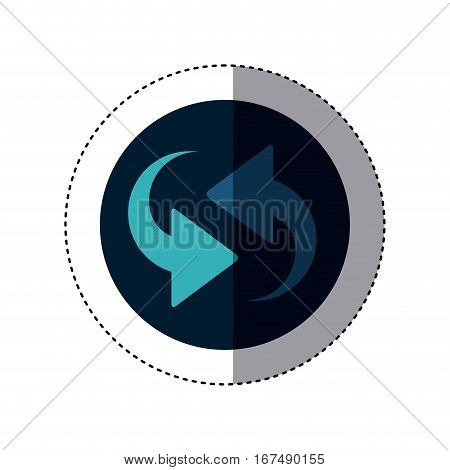 colorful sticker circular border with arrows update vector illustration
