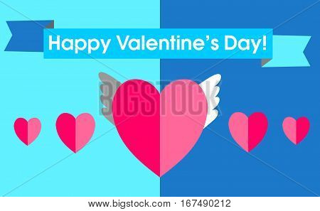 Postcard Valentine's Day in a flat style. Interesting idea with the winged seerdchkom surrounded by ordinary on a blue background. Ribbon with holiday greetings