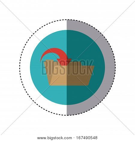 colorful sticker circular border with folder with arrow inside vector illustration