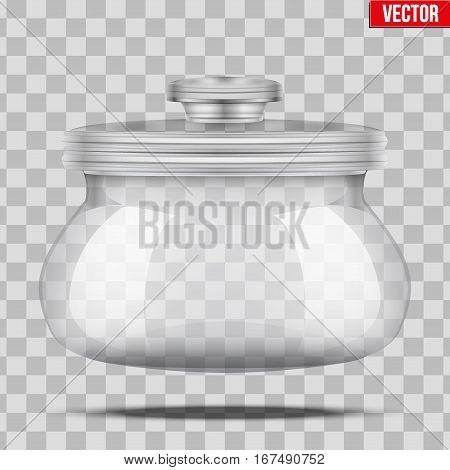 Glass Jars for bulk and liquid products with glass cover. Vector Illustration isolated on transparent background.