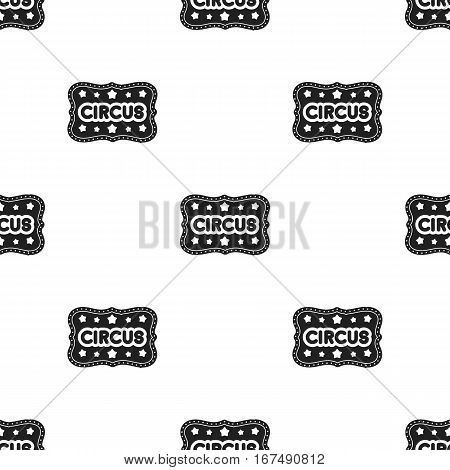 Circus banner icon in black style isolated on white background. Circus pattern vector illustration.