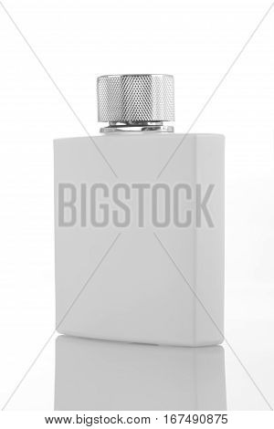 White Perfume Bottle for Mockups isolated with Reflection