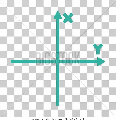 Cartesian Axes vector pictogram. Illustration style is flat iconic cyan symbol on a transparent background.