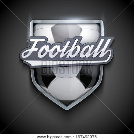 Premium symbol of Football label and emblem. Shield with soccer ball. Symbol of sport clubs. Vector Illustration.