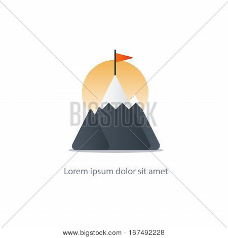 Mountain summit with flag, reach goal, upgrade vector illustration icon