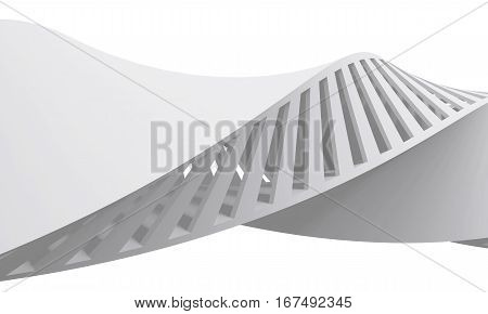 Abstract White 3D Spiral Structure