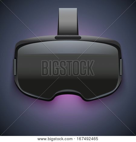 Original stereoscopic 3d vr headset on dark background with light. Front view. Vector illustration Isolated on white background.