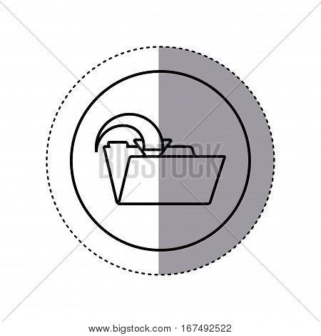 contour sticker circular border with folder with arrow inside vector illustration