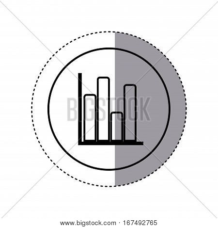 contour sticker circular border with column chart icon flat vector illustration