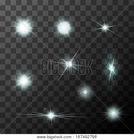 Set of different starbursts with white sparkles on transparent background
