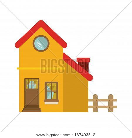 facade confortable house with grille vector illustration