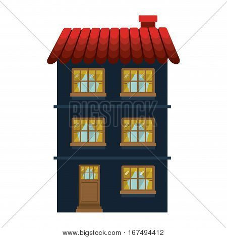 facade confortable residence with several floors vector illustration