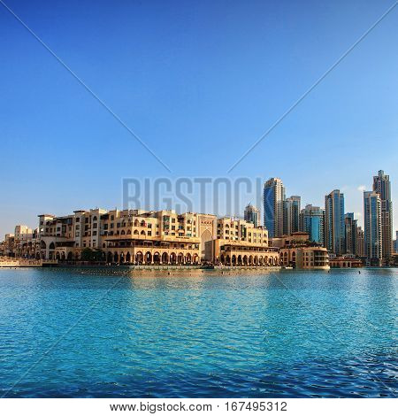 UAE. Downtown Dubai skyline and dancing fountain