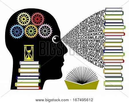 Rapid Learning Concept. Brain training and speed reading for best achievement in school or college