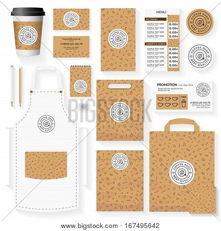 Coffee shop corporate identity template design set with memphis geometric pattern. Restaurant cafe set card, flier, menu, package, uniform design set. Stock vector