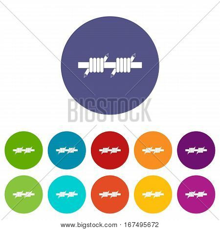 Barbed wire set icons in different colors isolated on white background