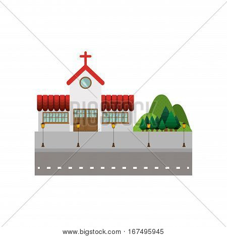 background street with church and mountains vector illustration