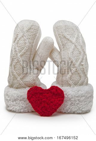 Soft couple. Knitted mittens with red heart, isolated on a white background.