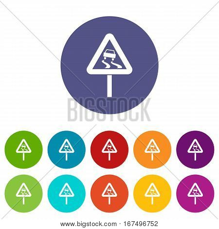 Slippery when wet road sign set icons in different colors isolated on white background