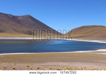 Lagunas altiplanicas and a volcano in Atacama desert, Chile