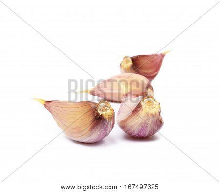 Fresh garlic cloves isolated on white background