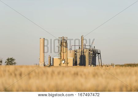 An oil well on the North Dakota prairie