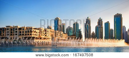 Dancing Fountains of Dubai Mall Dubai, UAE.