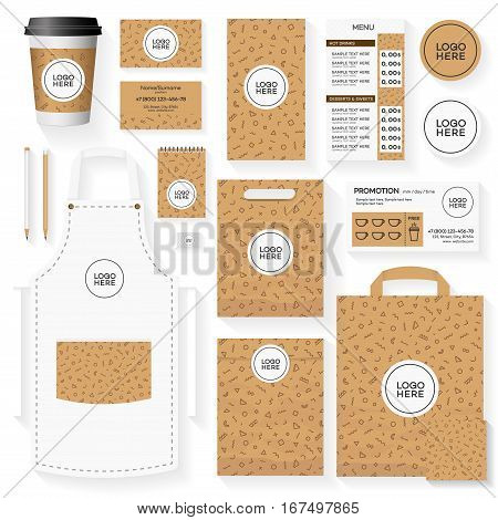 Template of coffee house corporate identity design set with memphis geometric pattern. Restaurant cafe set card, flyer, menu, package, uniform design set. Vector Illustration