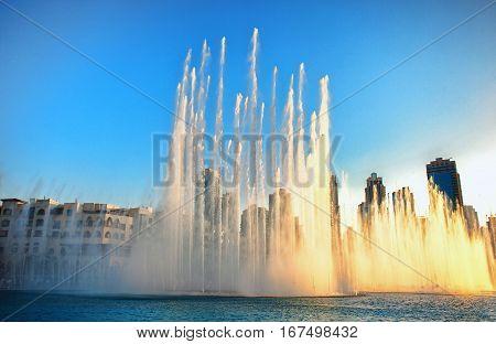 Dancing Fountains of Dubai Mall Dubai. Dubai UAE.