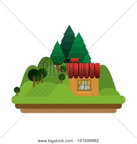 landscape forest with confortable room with window vector illustration
