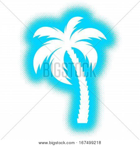 Vector single palm tree silhouette icon halftone design