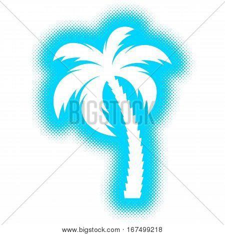 Vector single palm tree silhouette icon halftone design