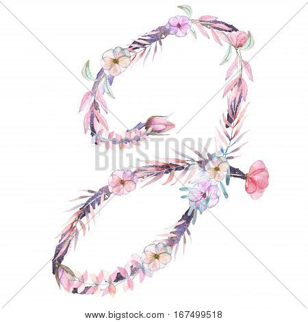 Capital Letter J Of Watercolor Pink And Purple Flowers Isolated Hand Drawn On A White