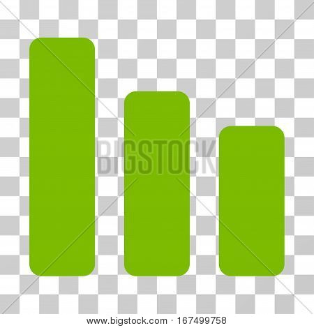 Bar Chart Decrease vector pictogram. Illustration style is flat iconic eco green symbol on a transparent background.