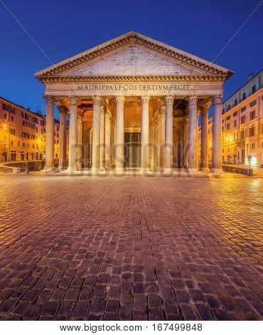 Night view of Pantheon in Rome, Italy, Europe