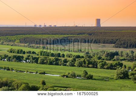 Nuclear power plant pollution green field Russia