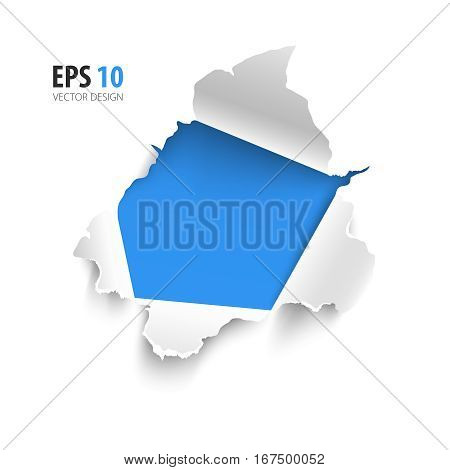 Hole in white paper with blue background. Vector illustration. Banner with space for text. Realistic torn paper vector isolated on white background. Curled sides with ripped edges.