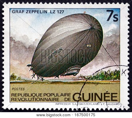 GUINEA - CIRCA 1984: a stamp printed in Guinea shows Graf Zeppelin LZ 127 Airship circa 1984