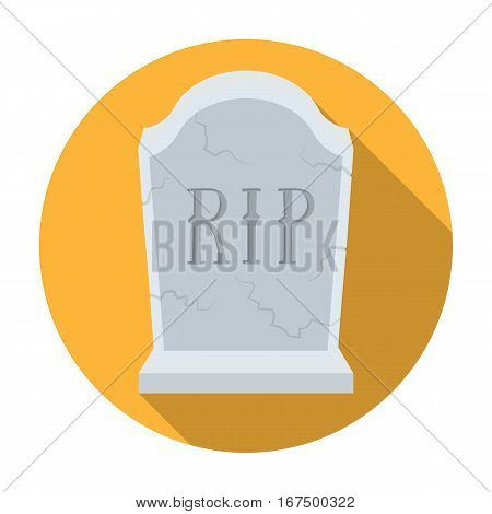 Headstone icon in flat design isolated on white background. Funeral ceremony symbol stock vector illustration.
