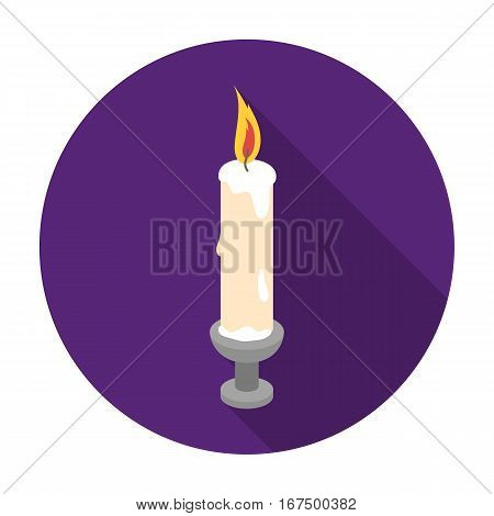 Candle icon in flat design isolated on white background. Funeral ceremony symbol stock vector illustration.