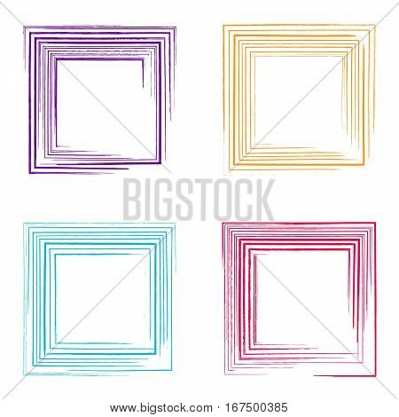 Colorful vector decorative grunge square frames collection