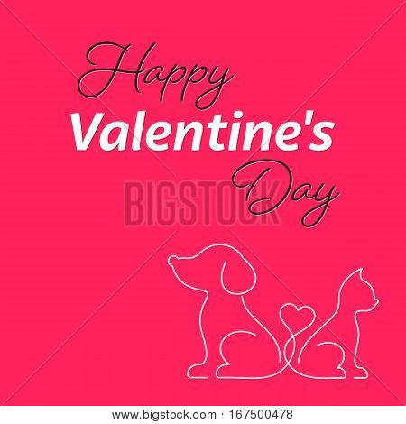 Happy valentine card with cat and dog icons