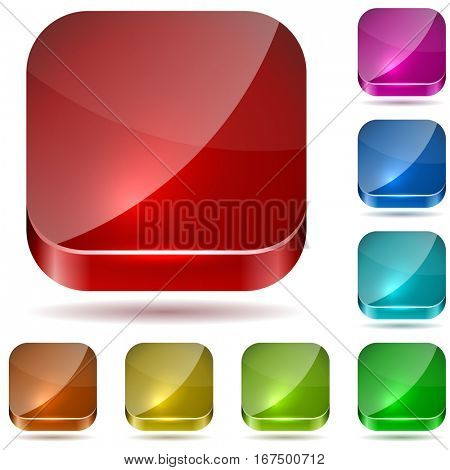 Color rounded square glass buttons set isolated on white background. Raster copy.