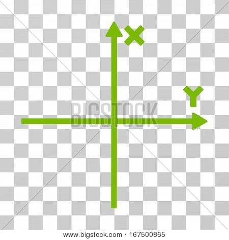 Cartesian Axes vector pictogram. Illustration style is flat iconic eco green symbol on a transparent background.