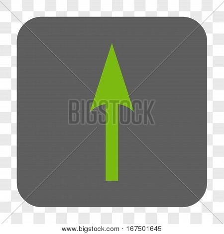 Sharp Arrow Up interface toolbar button. Vector icon style is a flat symbol in a rounded square button light green and gray colors chess transparent background.